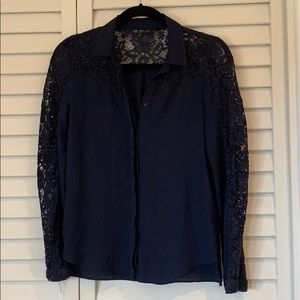 Zara Navy Long Sleeve Lace Button front blouse
